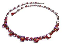 Vogish Iridescent Reds Rhinestone Necklace