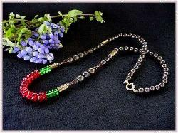 Reds Greens Metalics - One Strand Necklace