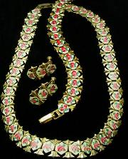 Antique Enamel Necklace Parure Necklace Bracelet Earrings