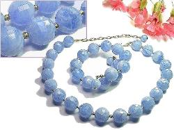 The Prettiest Blue Faceted Beads Necklace & Wrap Bracelet