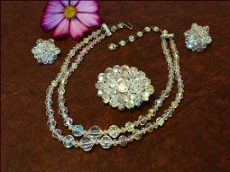 Vintage Parure Crystal Necklace Brooch Earring Set | Vintage Wedding Jewelry