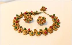 Unsigned Miriam Haskell Wood Bead Necklace and Earrings