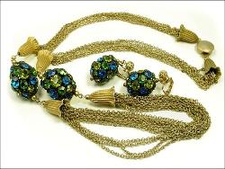 Greens & Blues Oval Balls Golden Necklace Earrings