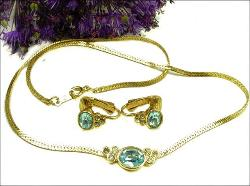 Golden Chain Necklace & Earrings with Blue Stones