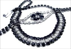 Rows of Black and Clear Round Chaton | Necklace and Bracelet