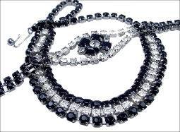Rows of Black and Clear Round Chaton Necklace and Bracelet