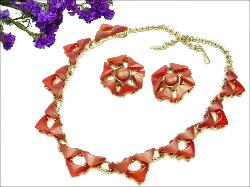 Triangular Thermoset Necklace + Earriings Vintage Retro Jewelry