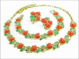 Full Necklace Parure Carved Coral Necklace Set