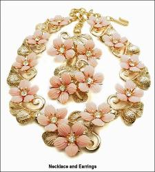 Pink Floral Necklace Parure Golden Textured Set