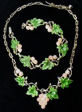 Vintage Grape Leaf Necklace & Bracelet Set