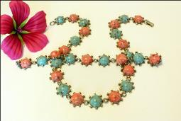 Blue Turquoise Coral Melamine Necklace