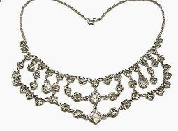 Antique Feston Necklace, loaded with unfoiled open backed crystal glass rs