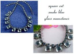 Vintage matt smoke blue square moonstones and rs necklace