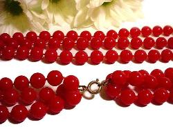 3-Strand Red Vintage Bead Jewelry
