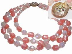 Triple Strands of Pinks/Whites | Pill Box Clasp