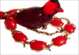 Vintage red thermoset golden linked necklace