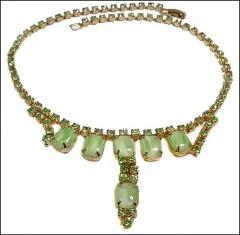 Vintage necklace green glass rhinestones and luminescent rectangle opal green milk glass