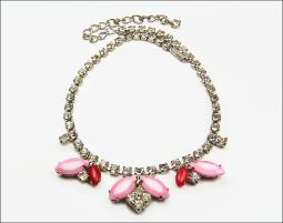 Crystals, Pinks, and Reds Silvertone Necklace