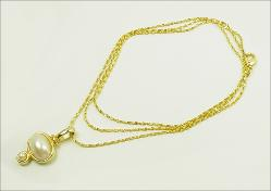 Golden and Oval White Pearl Cabochon Necklace, 29