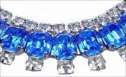 Round crystal rhinestones and royal blue baguettes