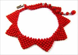 Deep red masterpiece glass stone necklace