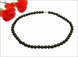 Round black glass pearl necklace 16.5 inches in length
