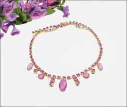 Rhinestone and navette necklace, pinks and opaque RS