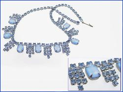 Elaborate with Large Blue and Med Blue Rhinestone Vintage Neckalce