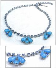 An Amazing Blue Teardrop Rhinestone Necklace