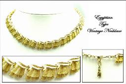 Egyptian drap gold tone necklace, beautifully detailed