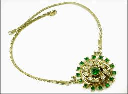 Vintage Costume Jewelry | Circular Center w/ Greens White and Gold