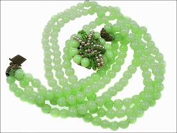Jadeite green glass Miriam Haskell unsigned necklace