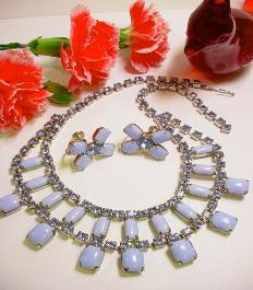4-Row Necklace Matching Earrings Blue Moonstone Rhinestone