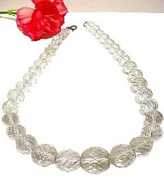 Spectacular HEAVY Colorless Crystal Antique Necklace