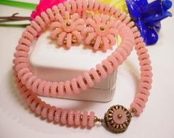 Pretty Pink Round Celluloid Necklace and Matching Earrings