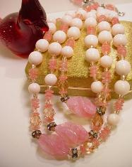 Unsigned Miriam Haskell Multiple Pinks & White Necklace