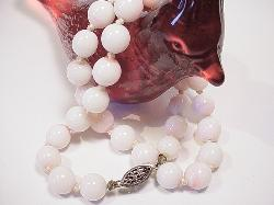 Hand Knotted Between Each Mother Of Pearl | Coral Vintage Neckalce