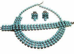 Three Strands of Blues Necklace Bracelet Earrings Parure