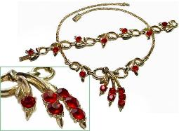 Huge Red Rhinestones Sway Softly Vintage Necklace Parure