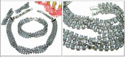 Vintage Jewelry Necklace Parure | Necklace + Bracelet + Earrings. Multi Layered Rhinestone Set