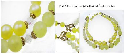 Summer colors vintage yellow bead necklace