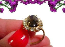 Vintage Black and Clear RS Adjustable Ring