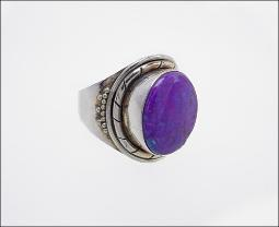 925 signed silver ring, purple turquoise, Size 7