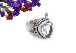 925 signed silver ring, white topaz, size 8