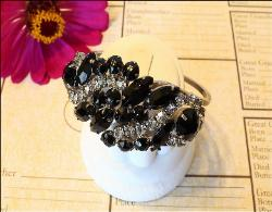 Juliana black glass and rhinestone vintage clamper bracelet