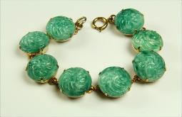 Pressed rose green stones link bracelet