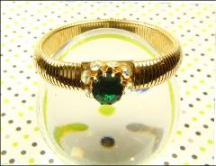 Shimmering green centered expandable bracelet