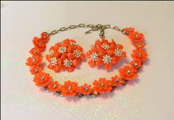 Bright Florescent Coral Lucite Necklace and Earrings