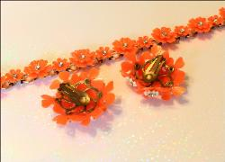 Coral Flower Necklace and Earrings