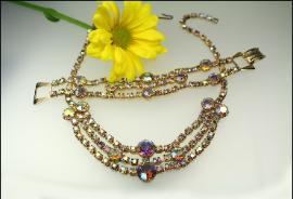 Opalescent Aurora Borealis Rhinestone Choker SET with pretty rainbow stones and is a real sparkler